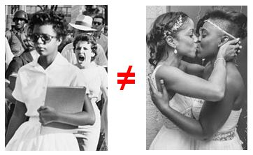 Little Rock Arkansas Central High School integration juxtaposed with a two lesbians kissing in wedding dresses.