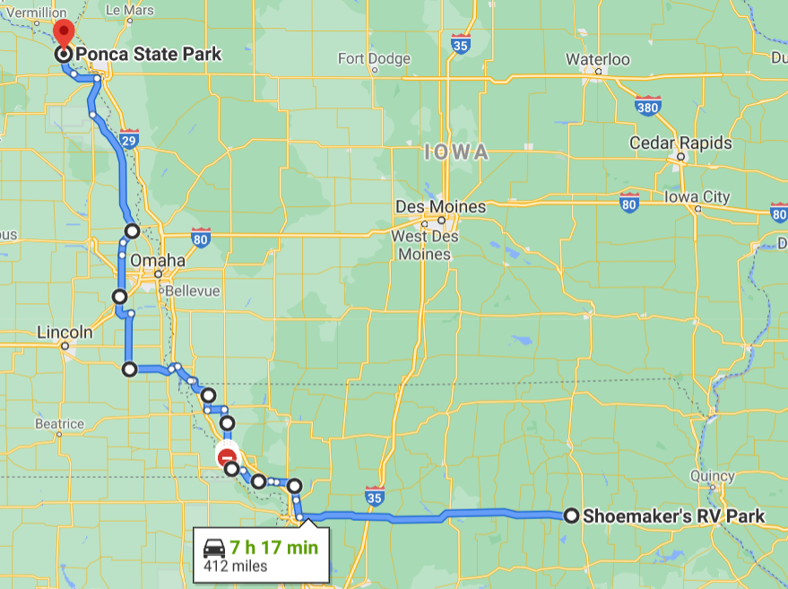 Day 4 route map Shoemaker's RV Park, MO to Ponca State Park, NE