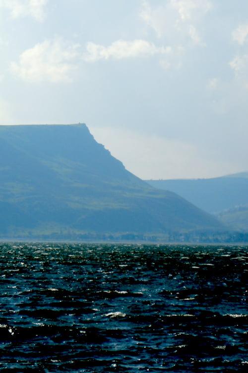 Mt. Arbel seen from boat off Tiberias