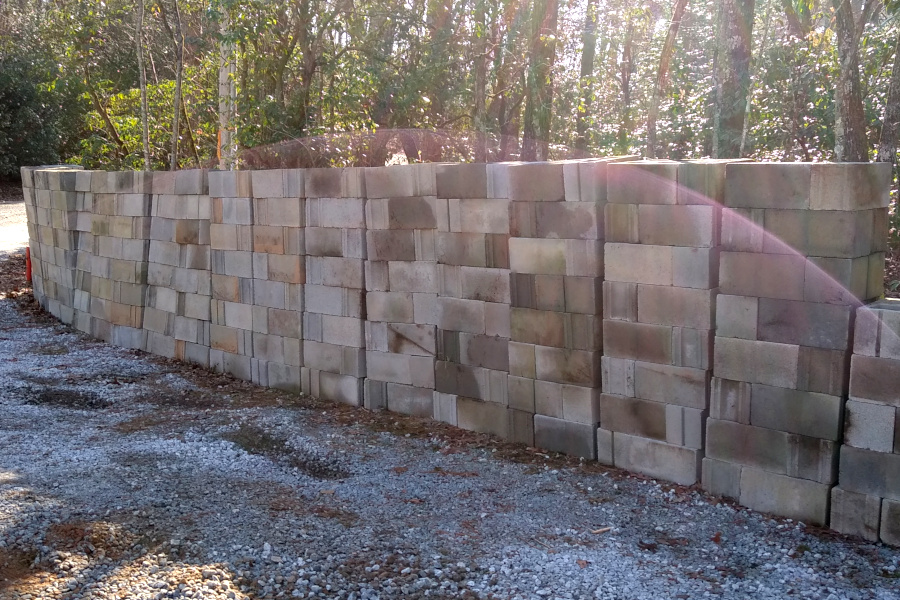 400+ blocks stacked ready for use