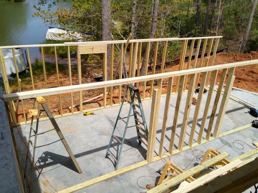 Completed basement frame walls.