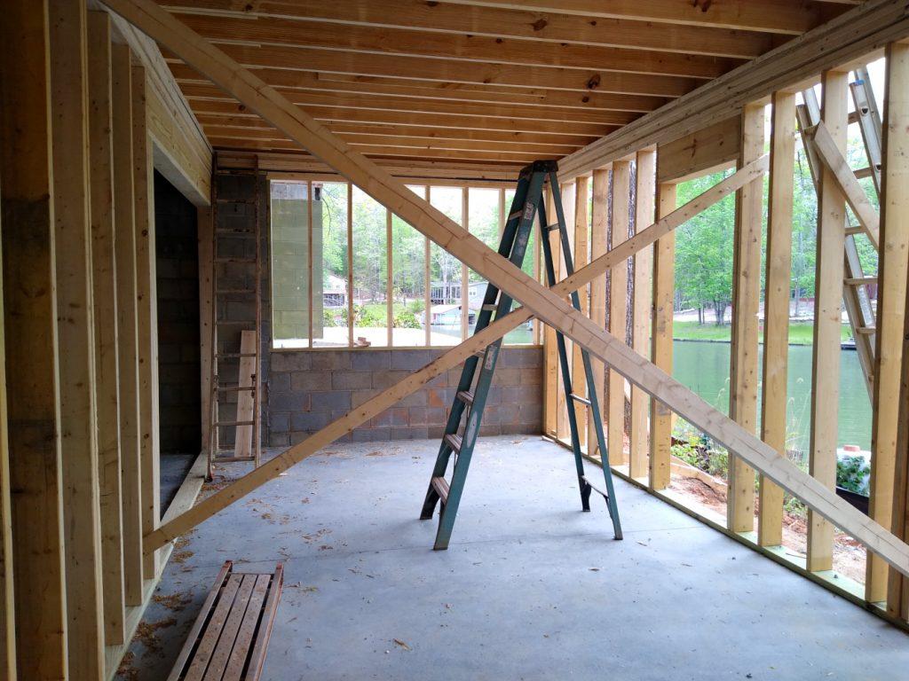 Basement framing front wall