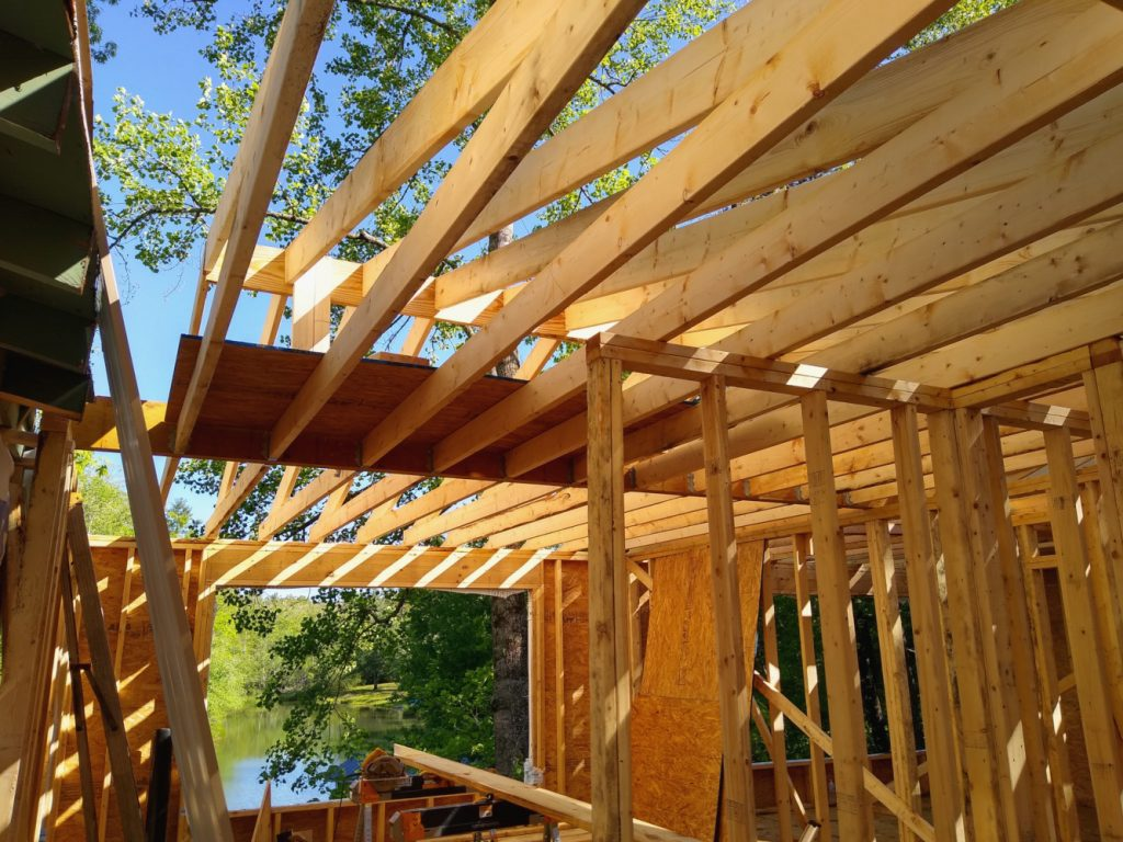 Rafters and joists above studio