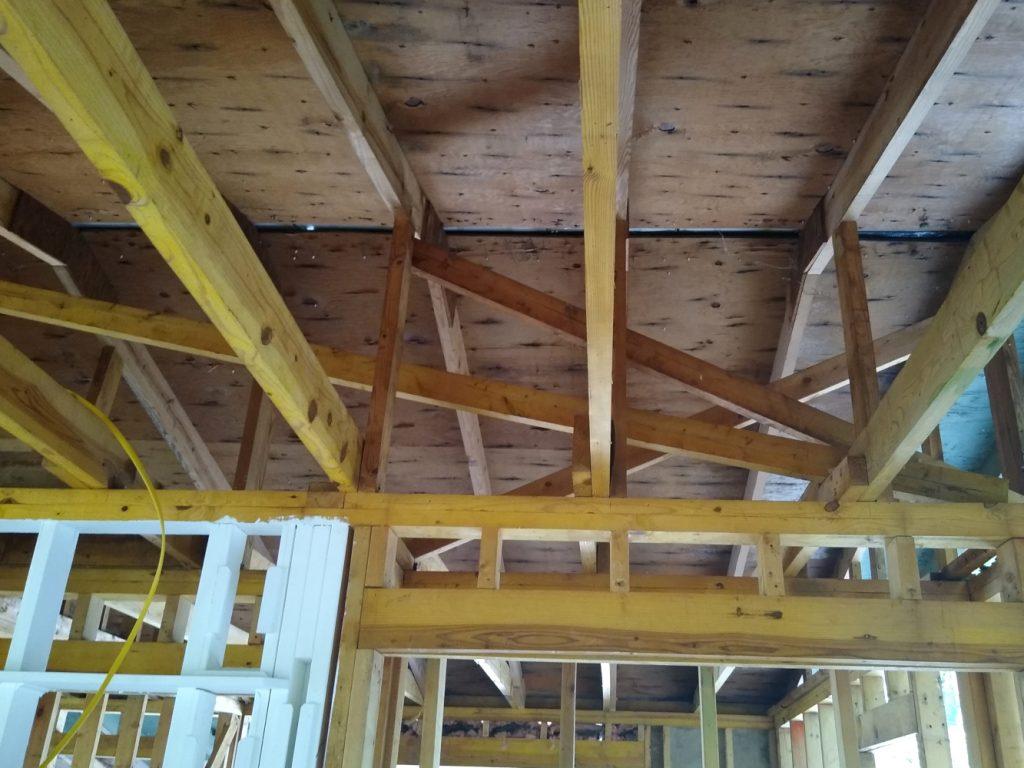 New ridge support framing above bedroom