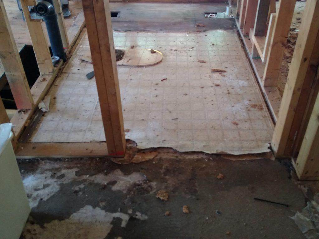 Bathroom floor before demolition
