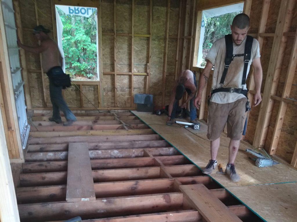 New pantry floor being laid