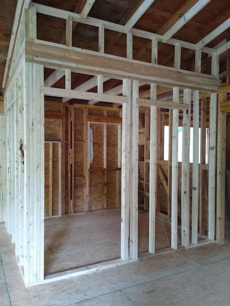 Framing for guest bathroom expansion