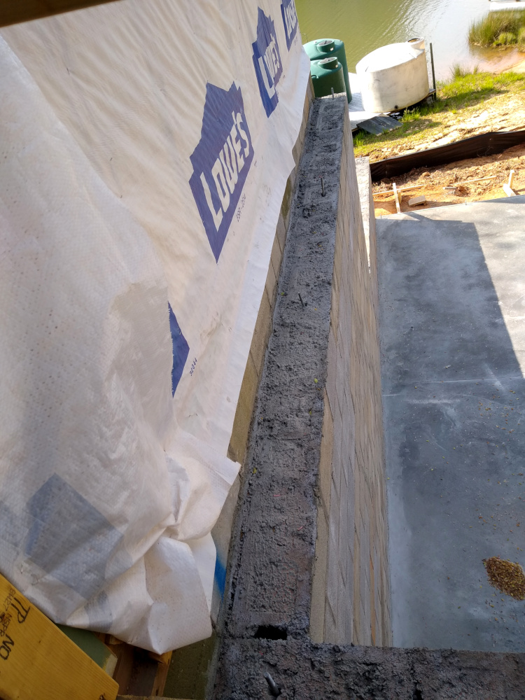 Mating wall showing concrete fill and rebar