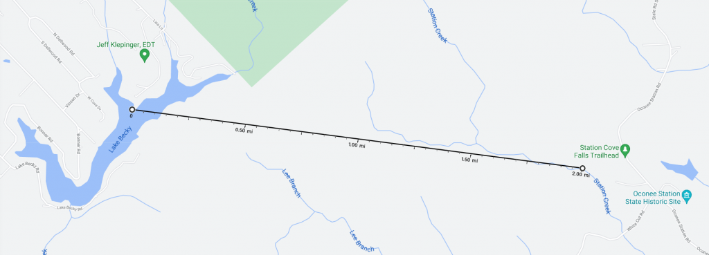 Map showing distance from our Lake Becky house to Station Cove Falls