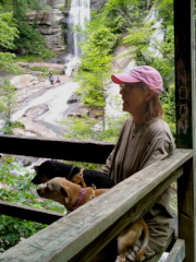 Sue and dogs sitting at Twin Falls overlook