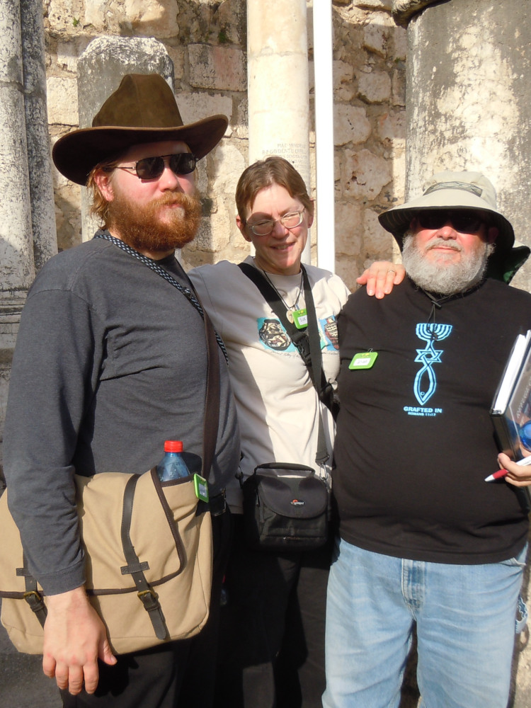 Christian, Sue, & Brian at the Synagogue in Capernaum
